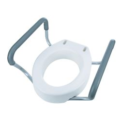Elongated Toilet Seat Riser with Arms, Elongated Raised Toilet Seat